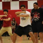 Rugby players perform the haka at the annual multi-cultural assembly April 4.