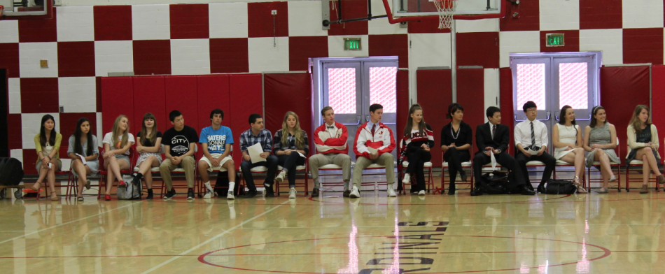 Candidates for ASB president and vice president await their turn at the annual election assembly held May 22. Winners Samuel He and Daniel park are at far right.