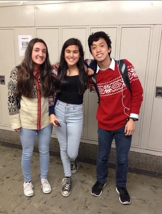 Freshmen+Olive+Trump%2C+Clara+Schwab%2C+and+Kevin+Nguyen+wear+their+white%2C+black%2C+and+red+sweaters.
