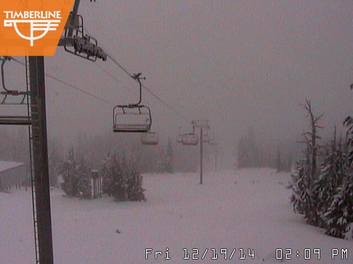 Timberline Lodge receives rainfall instead of snow. Photo from Timberline Lodge live webcams.