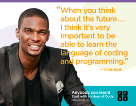 Miami Heat center Chris Bosh is just one of many individuals endorsing Hour of Code, which will occur at Lincoln Dec. 8-14 as part of Computer Science Education Week.