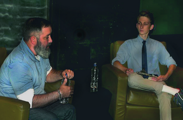 Junior Michael Ioffe (right) speaks with Rick Turoczy, chief executive officer of the Portland Incubator Experiment.