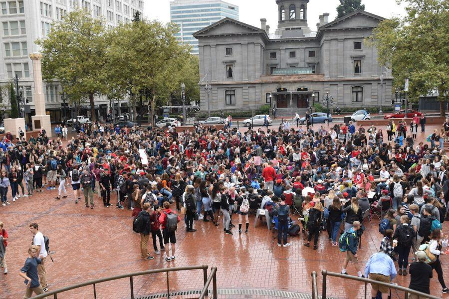 Students fill Pioneer Courthouse Square in downtown Portland after walking out of classes Wednesday morning in protest of a school board decision to delay a bond to rebuild their school.