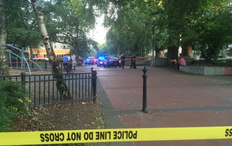 Portland Police investigate a stabbing at Couch Park on Aug 26.