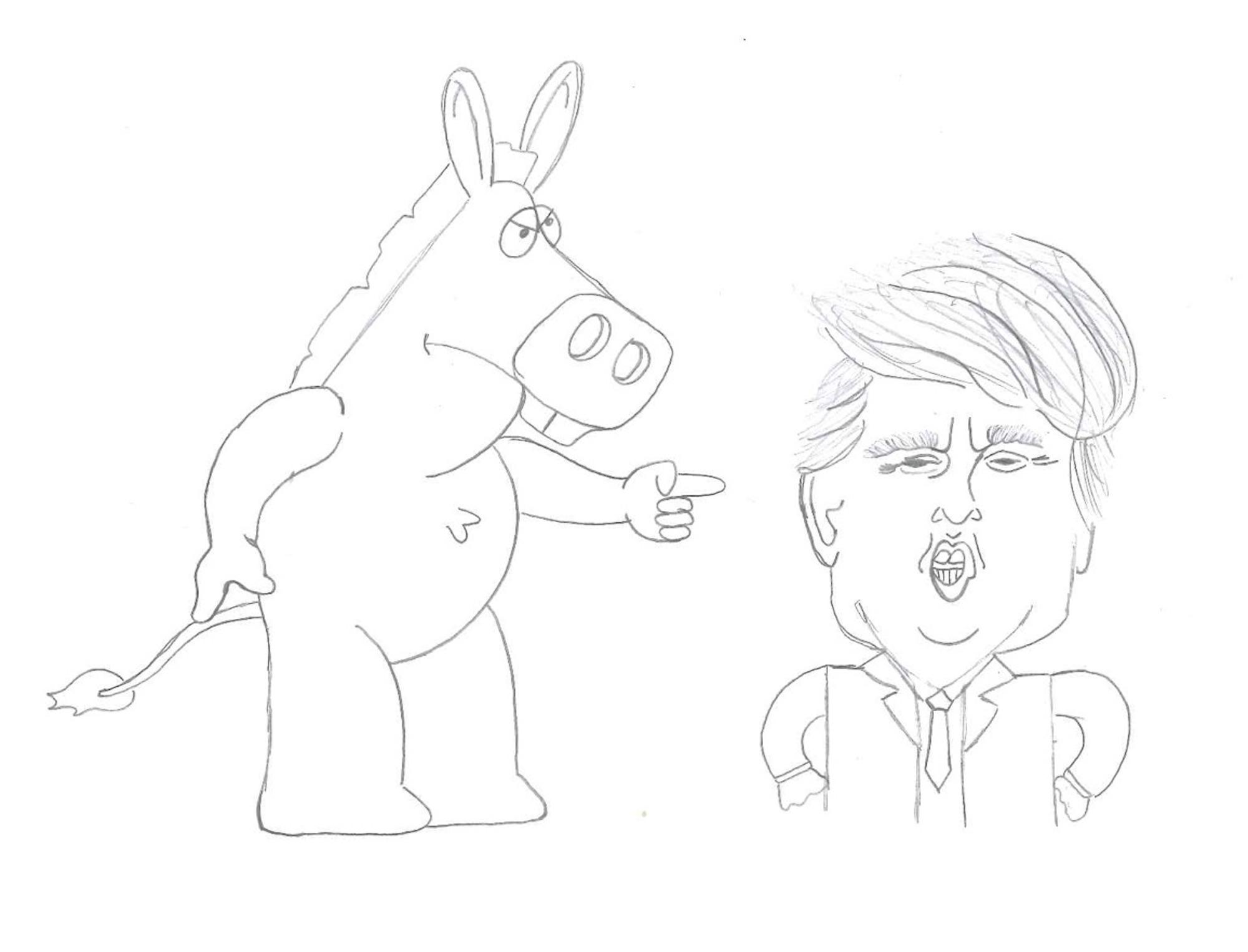 Though most Democrats dislike Trump, they offer different perspectives on why. Comic by Sophia Wilson.