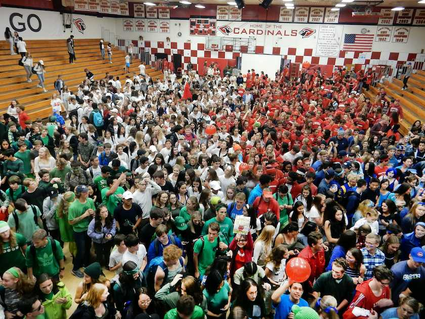 Students+of+all+grades+come+together+at+the+end+of+the+Color+Wars+assembly%2C+which+capped+off+Spirit+Week.