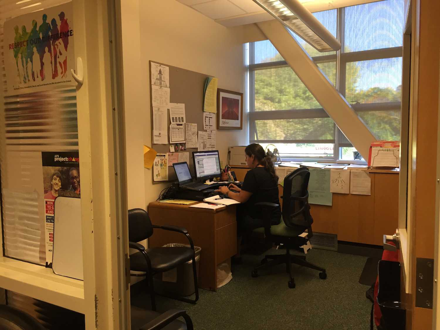 Counselor Marquita Guzman works in her office in the Counseling Center.