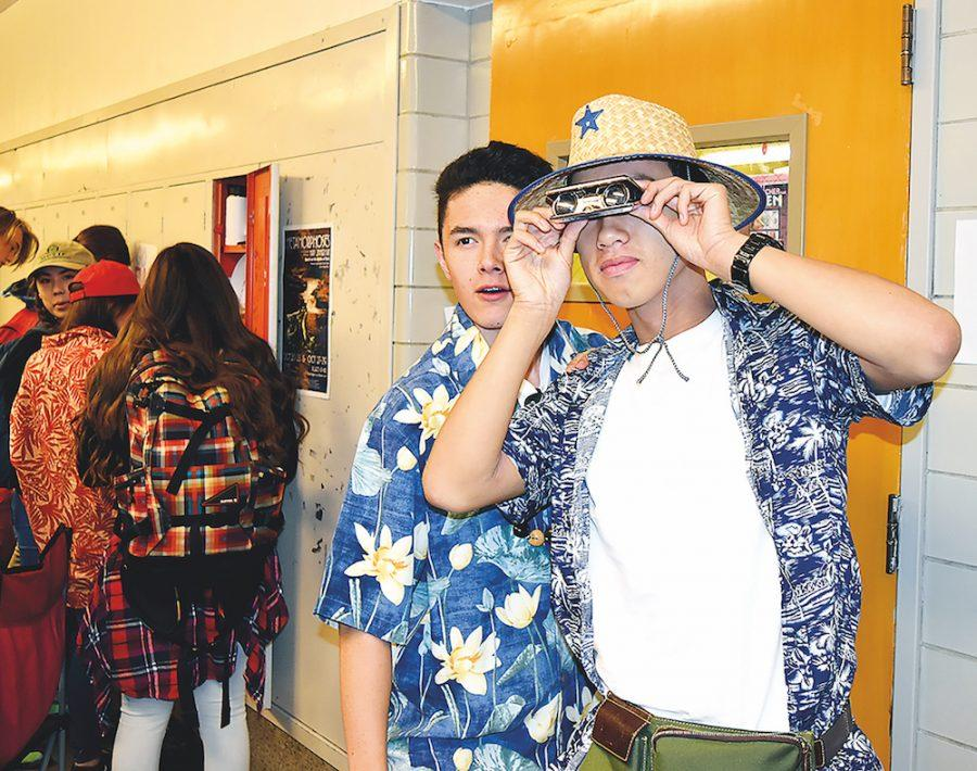Juniors Michael Seung (left) and Kevin Nguyen brought out the Hawaiian shirts and fanny packs for Tacky Tourist Day.