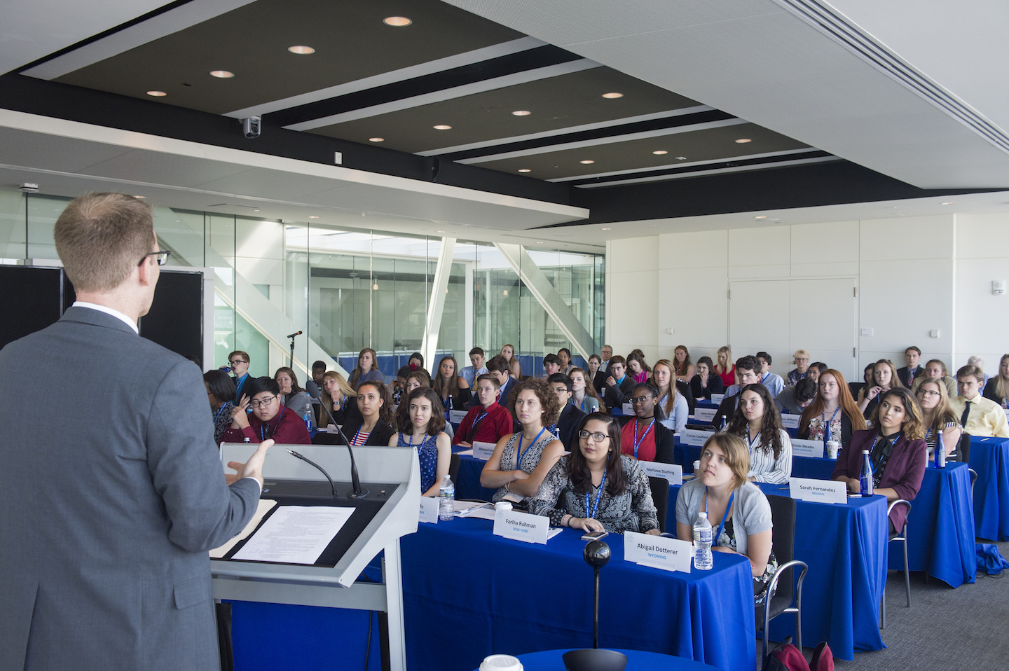 The+Free+Spirit+group%2C+consisting+of+one+student+from+each+state+and+D.C.%2C+listens+to+advice+from+2017+Pulitzer+Prize+winner+David+Fahrenthold.+Photo+courtesy+Newseum+Institute.