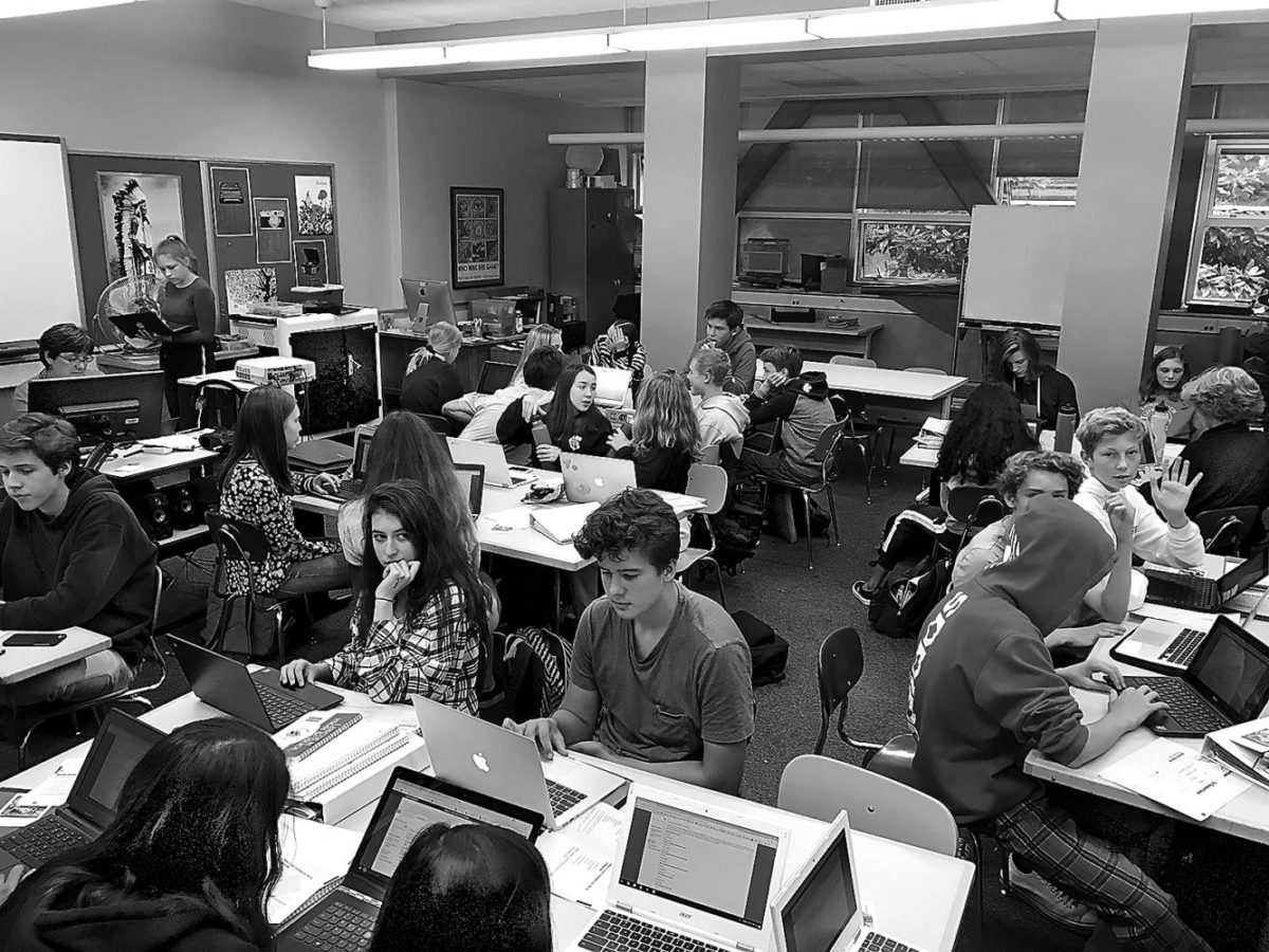 Students crowd into a classroom 135 earlier this month.