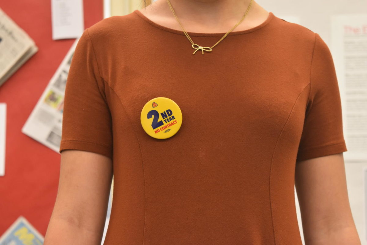Many teachers at Lincoln and across the district have worn these pins each day, expressing their frustrations that labor negotiations have stretched into a second year.