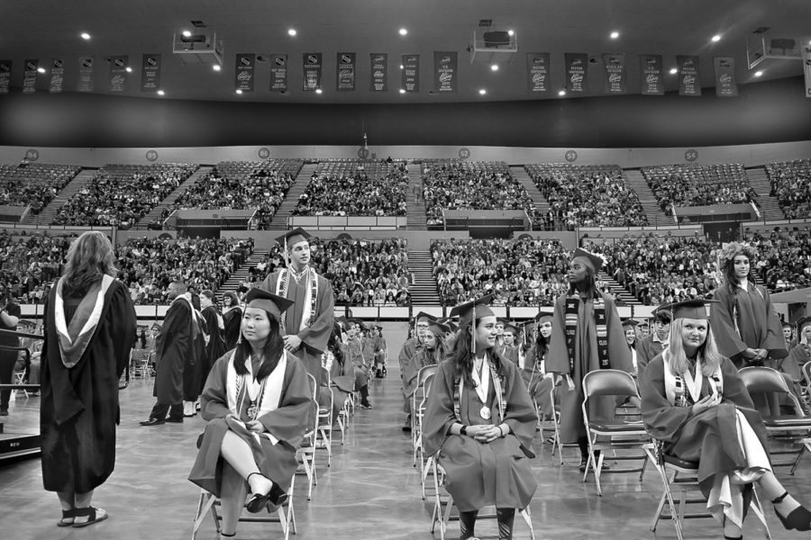 The Class of 2016 at their graduation ceremony. If PPS had a similar requirement to Chicago Public Schools, these students would not be able to graduate unless they held a college acceptance letter, a job or another alternative.