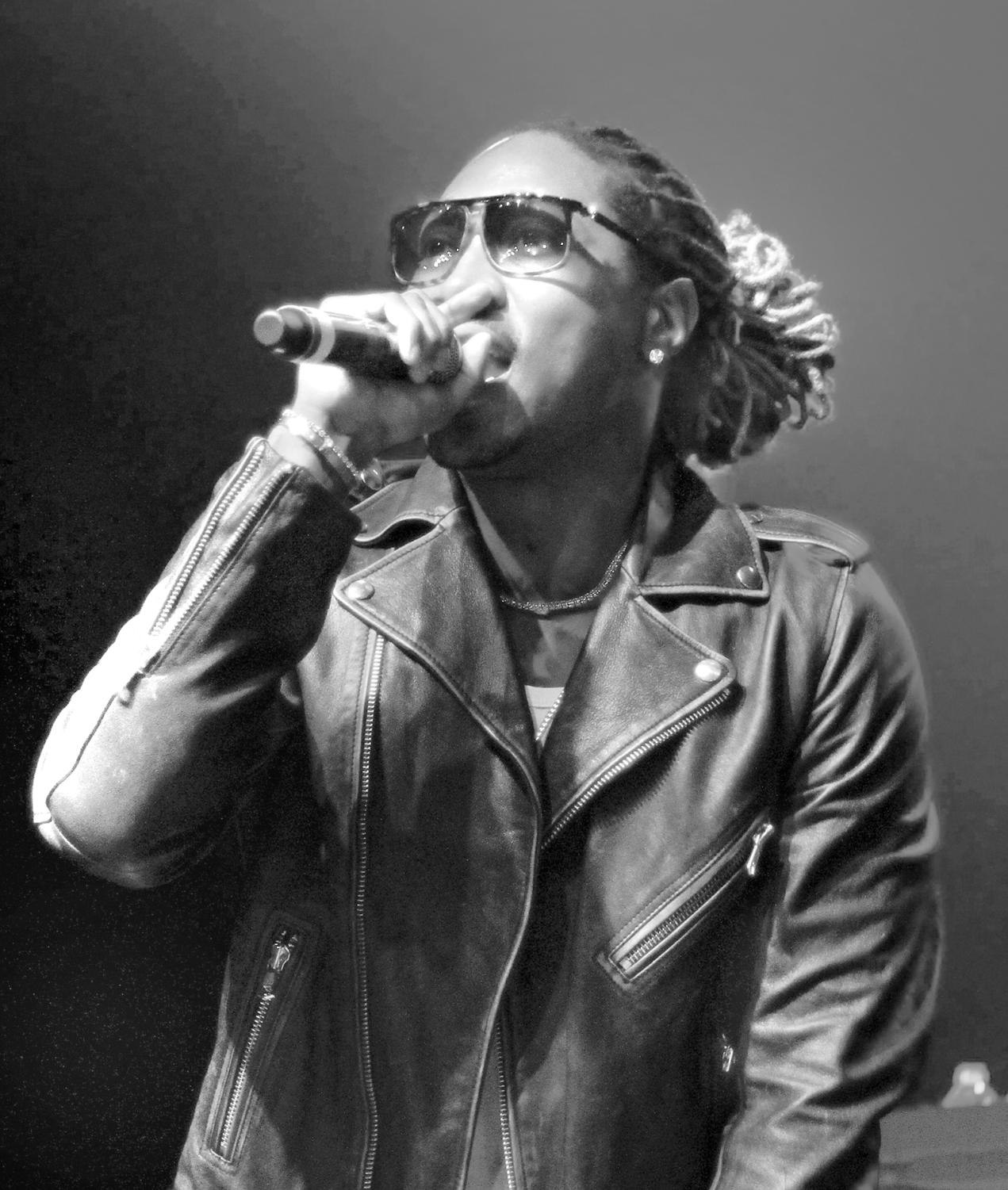 """Future, one of the most well-known """"mumble rappers,"""" pictured in concert in 2014. """"Mumble rap"""" is a misleading label for a new type of Hip-Hop.`"""