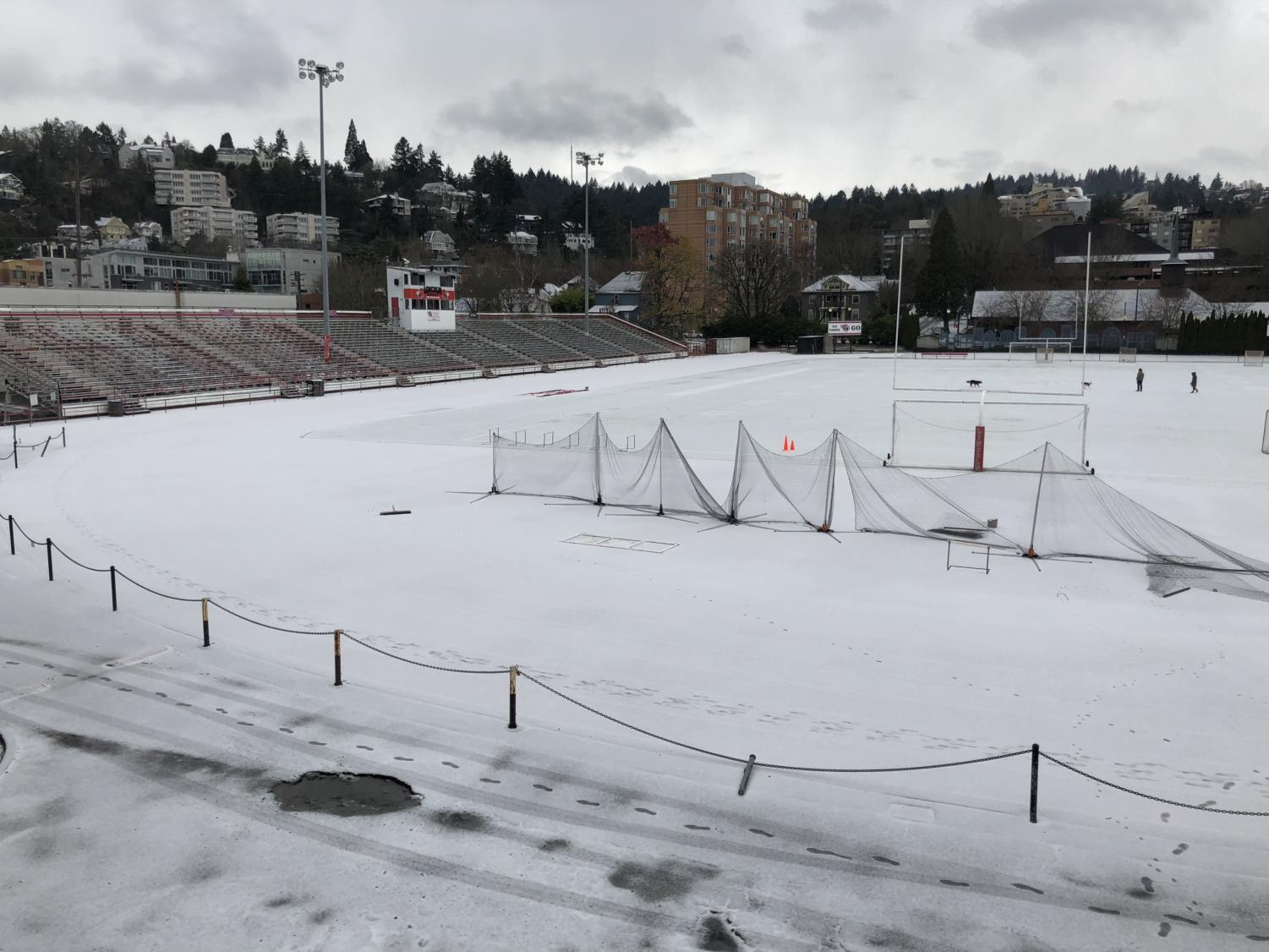 A light layer of snow on the Lincoln field on Dec. 24, 2017.