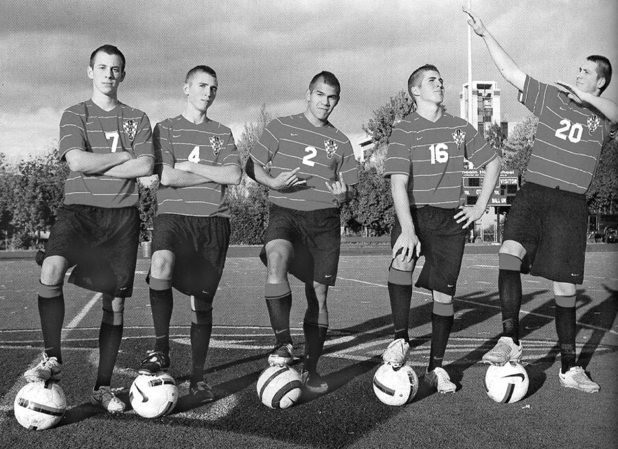 Matt Sheldon (far left, wearing number 7) graduated from Lincoln in 2011. He is now a professional soccer player and a YouTube personality.