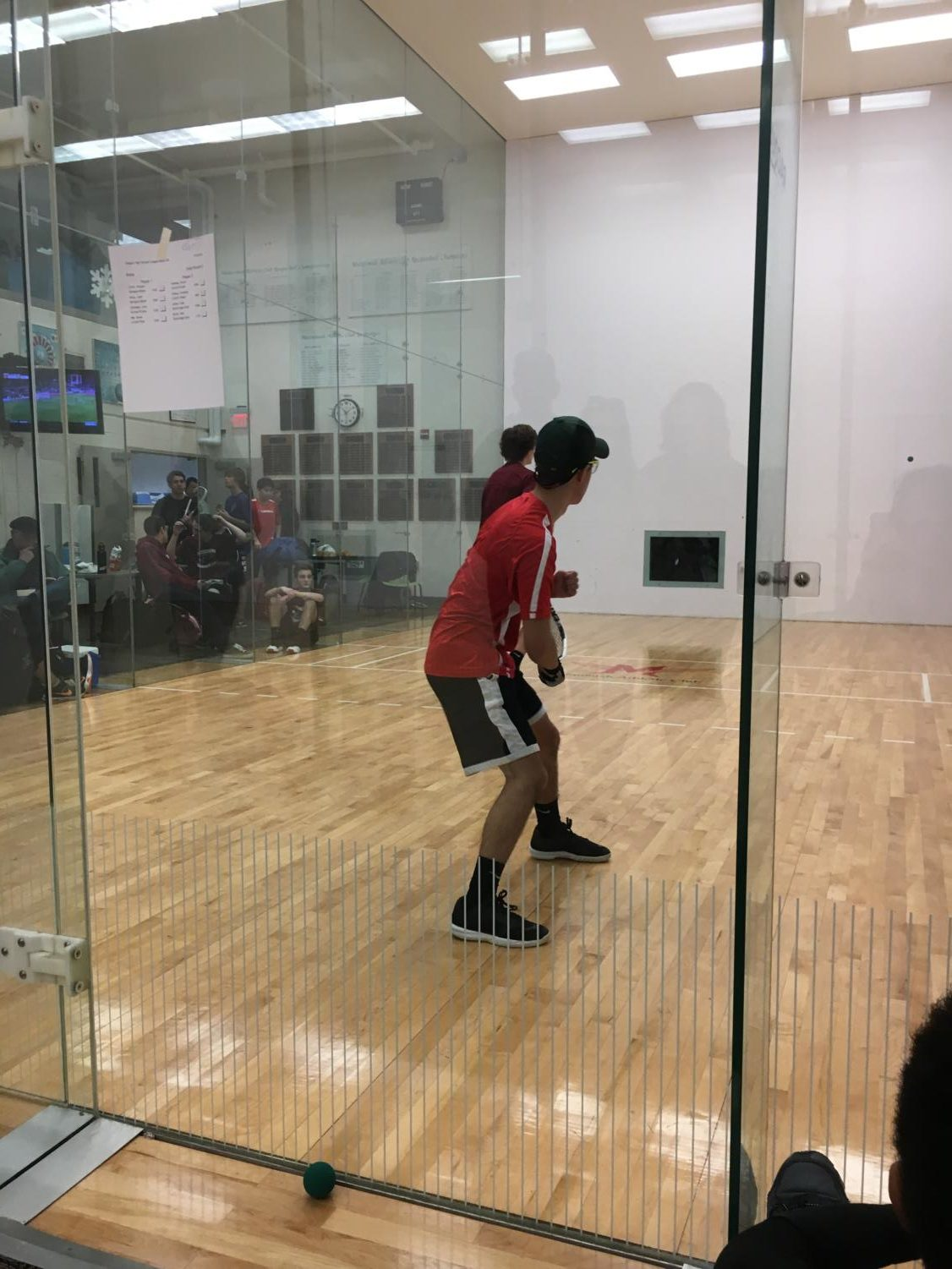 Junior Davis Ma plays in a racquetball match at the Multnomah Athletic Club. The racquetball team is preparing for the state championships at the end of January.