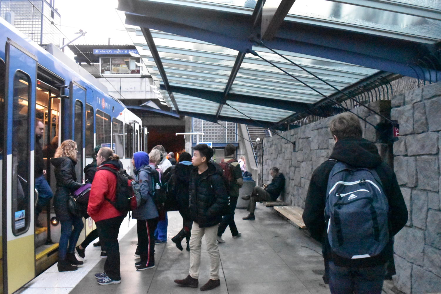 Passengers board the MAX light rail at Sunset Transit Center on Jan. 10. Many Lincoln students rely on TriMet to get to school, though funding for free pases could soon be cut off.