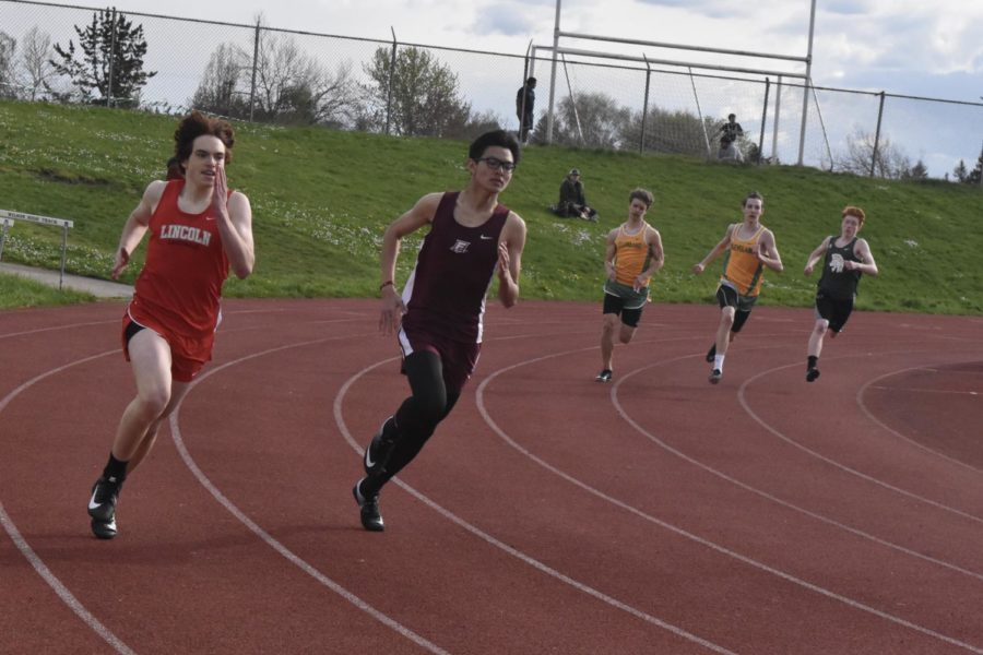 Sophomore Elias Raider running in a meet at Cleveland high school on April 18.