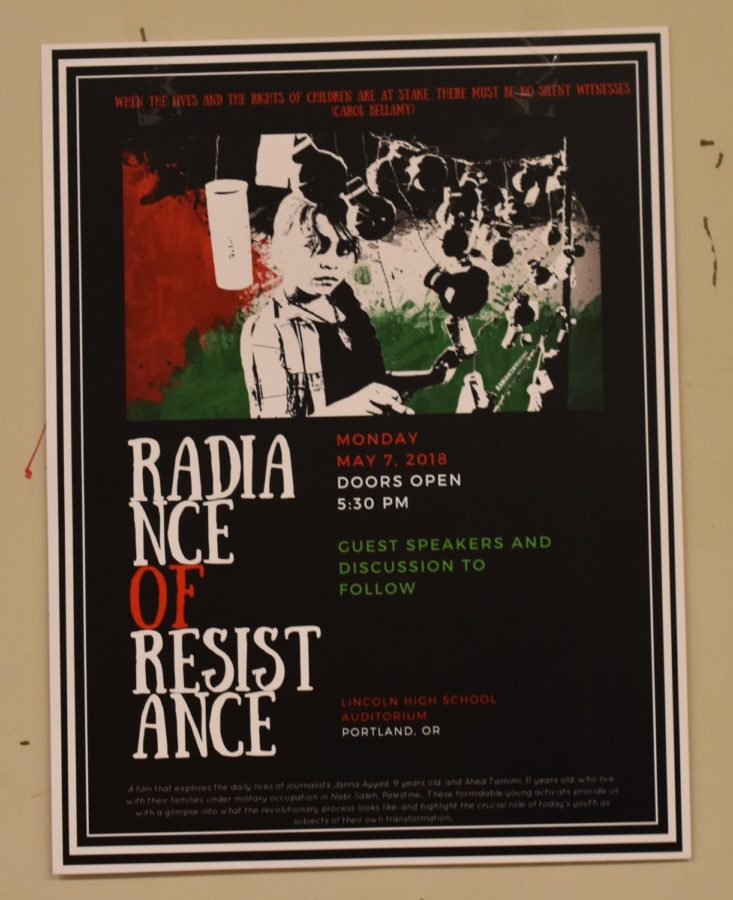 Radiance+of+Resistance+poster+hung+up+in+junior+hall.+