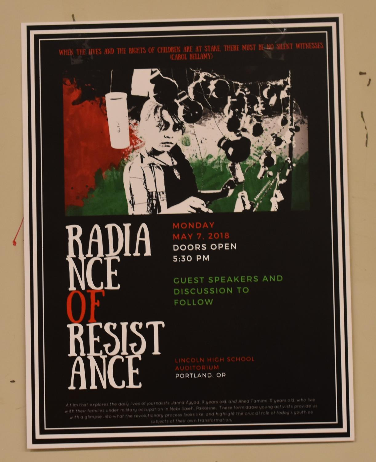 Radiance of Resistance poster hung up in junior hall.