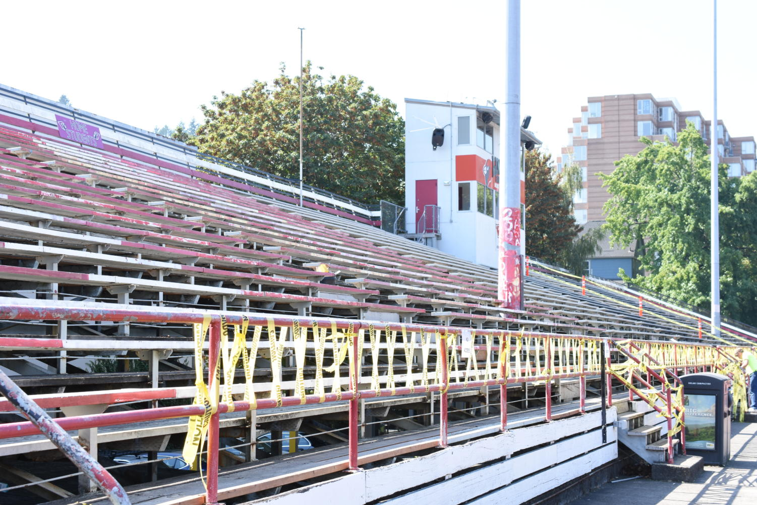 A large section of bleachers are blocked off by yellow caution tape. The bleachers will likely not be rebuilt but the district is making efforts to make them safe for student and spectator use.