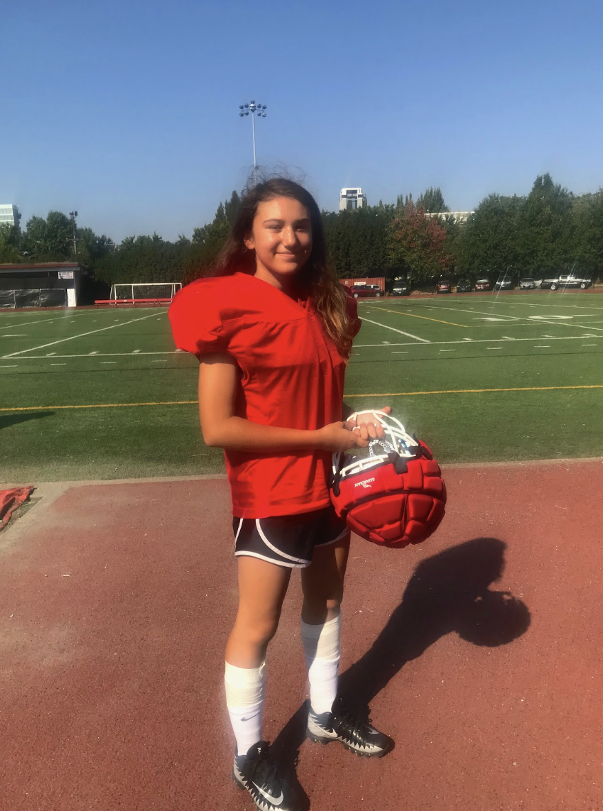 Cornerback Lucie Nicholson enjoys playing on the football team and is the only girl.