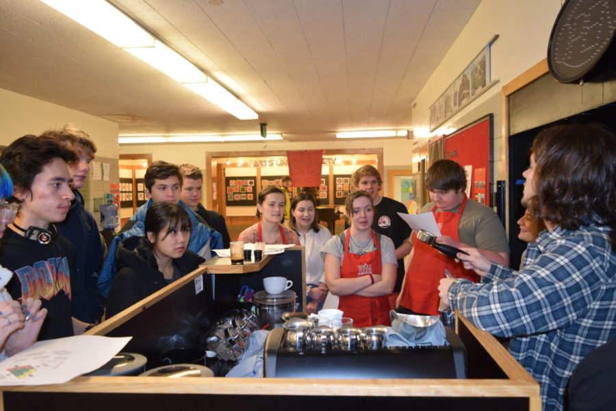 Culinary Arts students learn how to use the new espresso machine and make a latte.