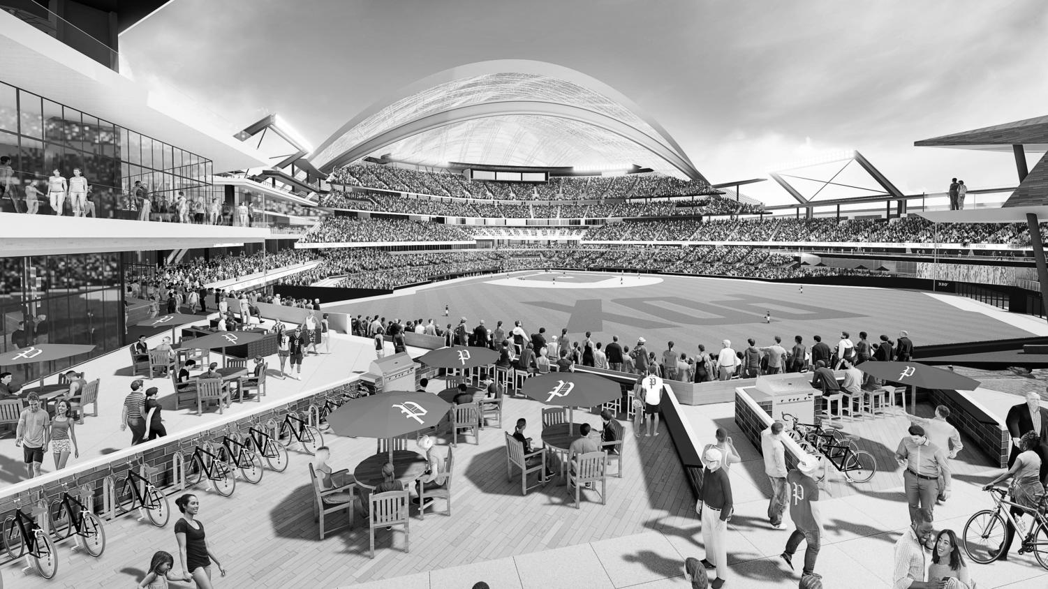 Visual renderings of the proposed Major League Baseball stadium at the Port of Portland's Terminal 2, assuming Portland is awarded a team.