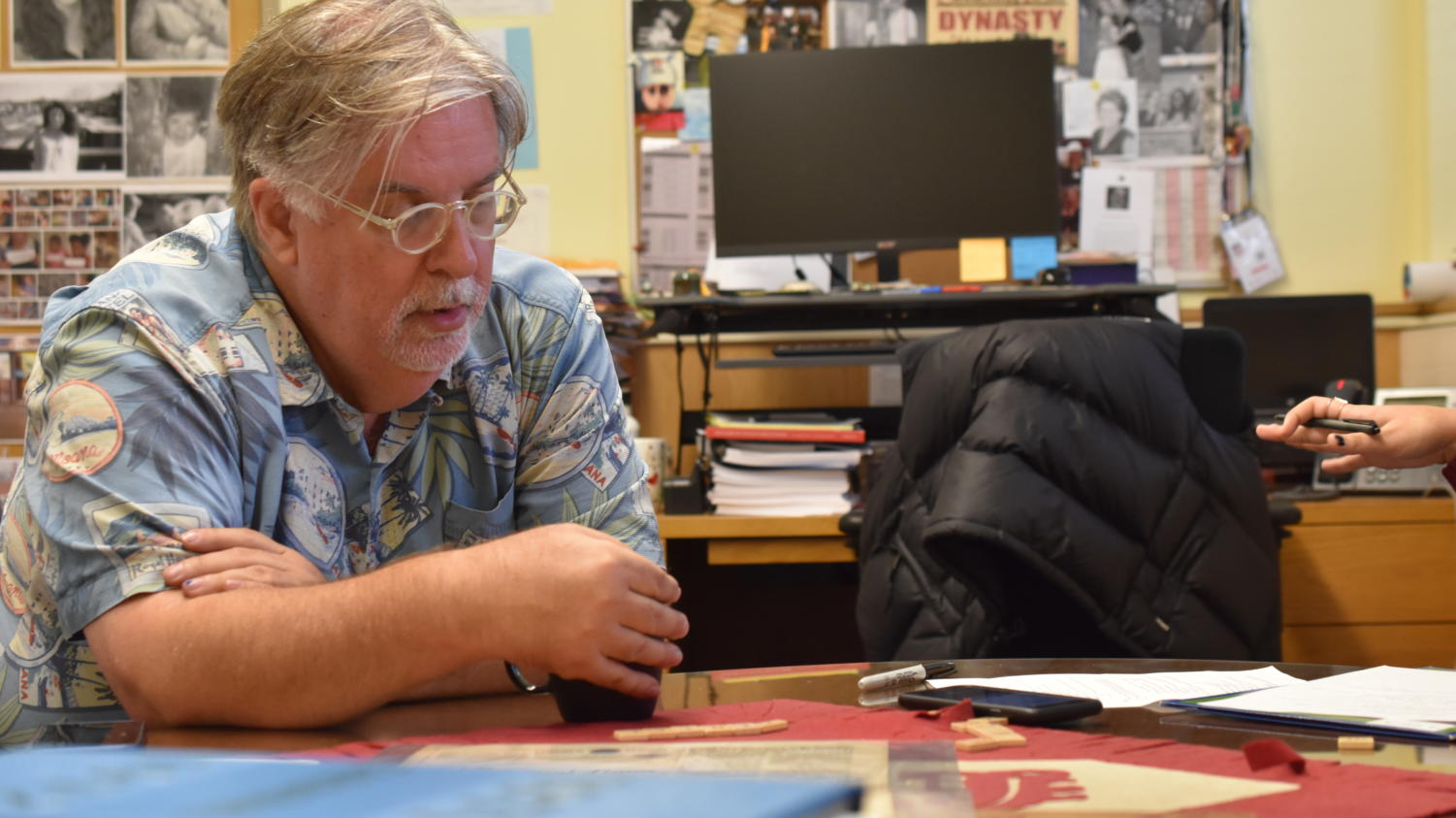 Matt Groening reflecting upon his highschool experience with Cardinal Times Staff.