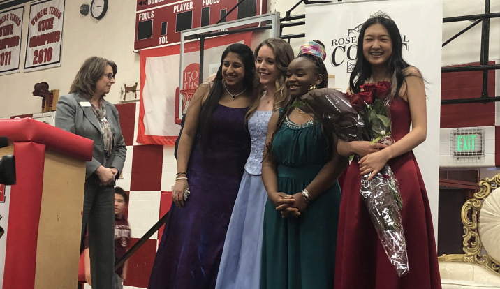 On+March+4%2C+Sophia+Zhang+was+chosen+as+Lincon%E2%80%99s+Rose+Princess.+From+left+to+right%3A+junior+Anya+Anand%2C+and+seniors+Rose+Marie+Crawford%2C+Loy+Msafiri+and+Sophia+Zhang.