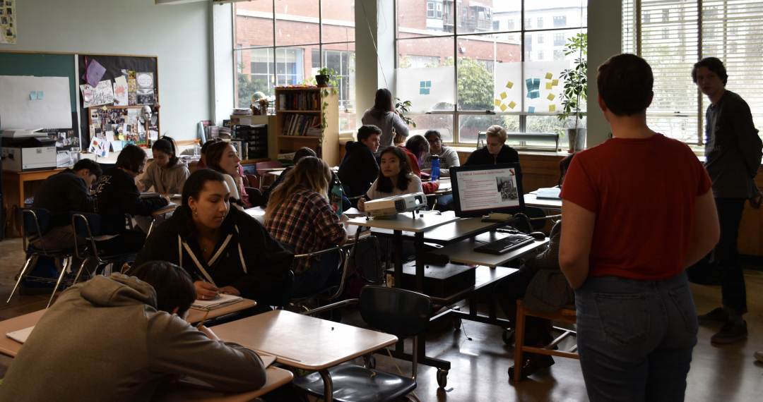 Jessica Mallare-Best teaches her fourth-period Hip-Hop Cultural Exploration class. This class, along with Critical Race Studies 1, makes up the first year of Mallare-Best's self-created Critical Race Curriculum. Students begin to lead discussions in the classroom as seen above.