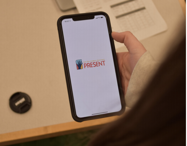 """The """"Present Education"""" app's homescreen, on an iPhone. The app locks students' phones for the entirety of a class period."""