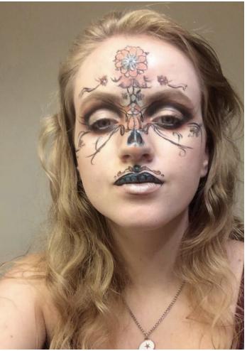 Sienna Painter showcases her work on her social media, modeling on her own face.