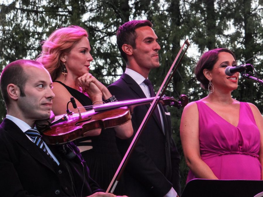 Portland based band Pink Martini performs at a show on Aug 5, 2016.