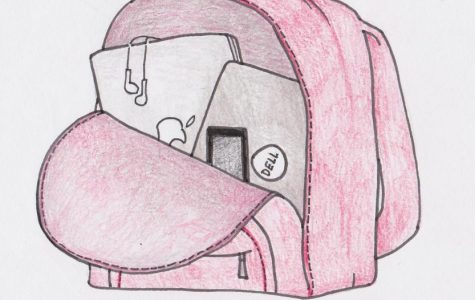 A drawing of a backpack. Students and parents worry about how school technology accounts could compromise personal information.
