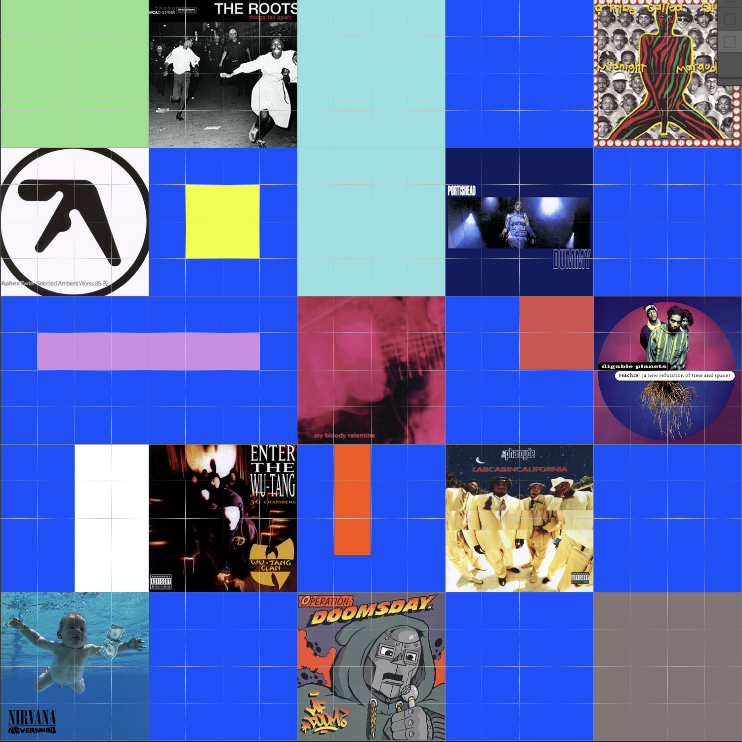 A compiled display of the album covers featured in this article.