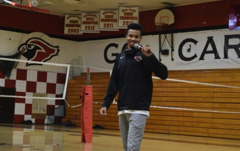 Caleb Dickson, also known as Yung_CED in the rapping community, performs Feb 7 in the Lincoln gym. Dickson led a presentation created by Critical Race Studies 3-4 students about art forms important to the black community.