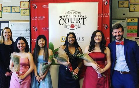 The four candidates for Lincoln's Rose Princess pose in Room 169 following the crowning of Anya Anand as Lincoln's 2020 Rose Princess. Candidates from left to right: Natalia Bermudez, Kylie ones, Anya Anand, Kiki Locke-Harris. Also pictured are Lincoln principal Peyton Chapman (far left) and vice principal Chris Brida (far right).