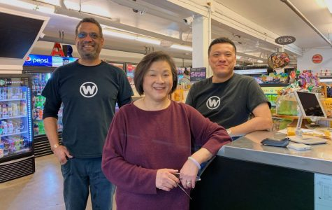The owners of Westside Market, Lincoln's most popular convenience store. From left to right: J.P. Chevalier, Sharon Wong, Ben Wong.