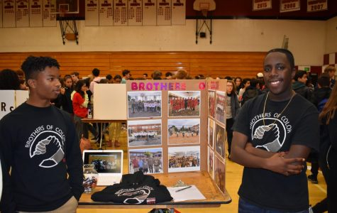 Senior Abani Neferkara and junior Zhykaire Rivers represent Brothers of Color (BOC) at Club Fair. BOC is a cultural affinity group at Lincoln High School that works to create a stronger community for people of color. Other non-affinity groups have been working to expand their base.