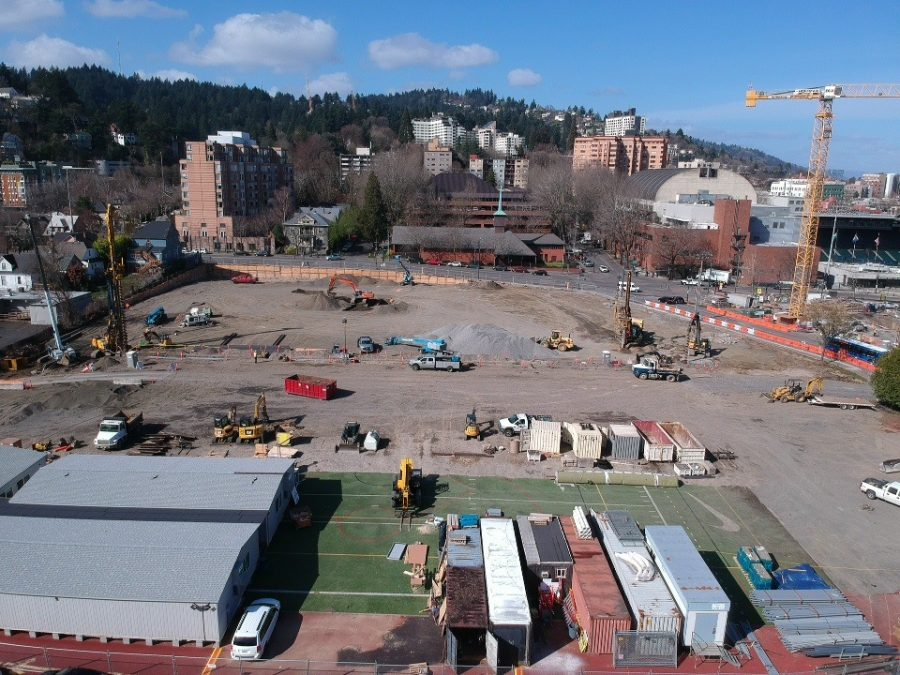 A birds-eye view of the construction over the remnants of Mike Walsh Field, where the new Lincoln High School will be built. The lack of field space has meant sports have resorted to alternate practice locations including Wilson High School, Rieke Elementary, and West Sylvan Middle School.