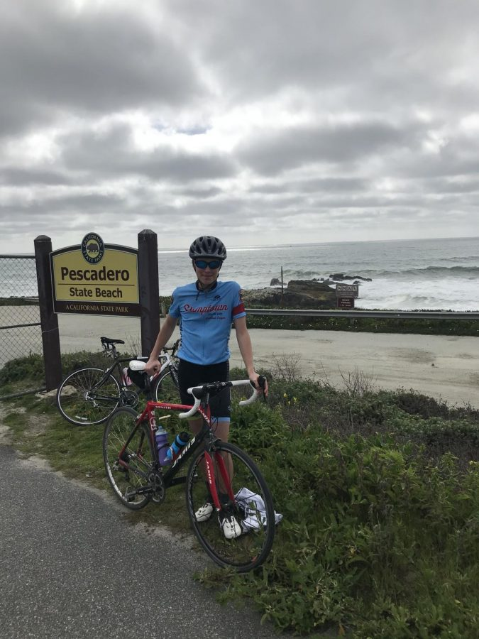 Sophomore Sebastian Accetta, halfway through a 74 mile bike ride during quarantine. Sebastian has been focusing on physical and mental health during this time by getting outside and spending time with his family.