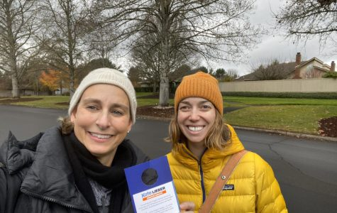 Caption: Kate Lieber (left) and Anna Rozzi (right) canvassing for Lieber's Oregon State Senate campaign in Jan. 2020 (pre-COVID-19).