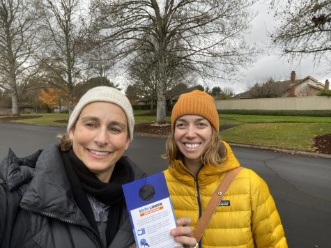 Caption: Kate Lieber (left) and Anna Rozzi (right) canvassing for Lieber