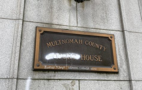 The Multnomah County Courthouse sign vandalized Friday night.