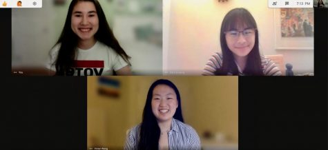 Cate Stone (top left), Vivian Wang (bottom) and Danica Leung (top right) during an Oregon My School Votes state lead meeting. Stone, Wang and Leung began the Oregon chapter of My School Votes in June to encourage Oregon youth to register and vote in the November election.