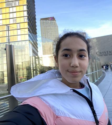 Freshman Sarah Faik takes a selfie. Faik is a Muslim student, and isn