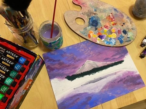 Kawai works on her art from home during asynchronous classes.
