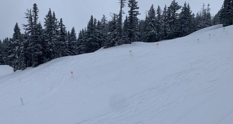 Ski team practices on the giant slalom race course  on Wednesday the 27th (on easy rider at Mt. Hood Meadows).