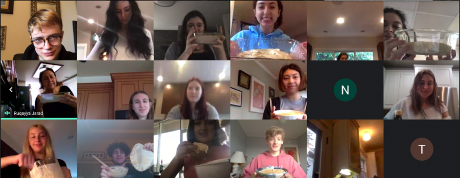 The Arabic 7-8 class virtually makes hummus together.